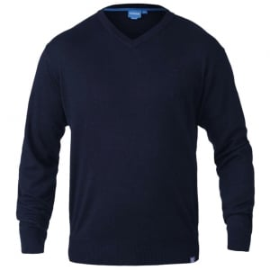 D555 Kingsize Russel V-Neck Knitwear Navy