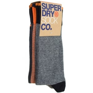 Superdry City Sock Triple Pack Black/Orange/Charcoal