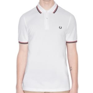 Fred Perry Kingsize M3600 Twin Tipped Polo White/Red/Navy