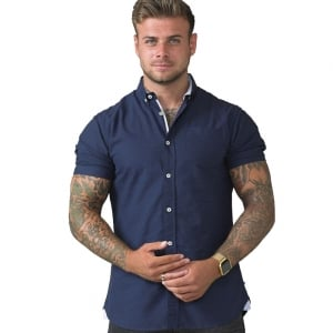 D555 Kingsize Norman S/S Oxford Shirt Navy