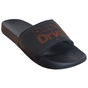 Superdry Lineman Pool Slide Black/Black
