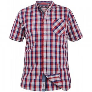 D555 Kingsize Check S/S Shirt Red/Navy/White