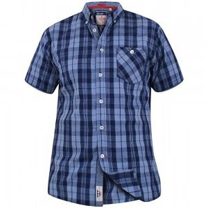 D555 Kingsize Check S/S Shirt Blue/Navy