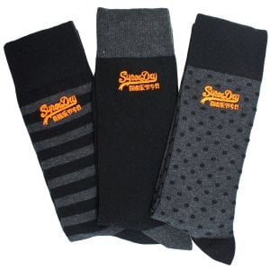 Superdry City Sock Triple Pack Charcoal/Black
