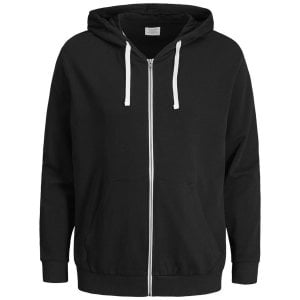 Jack & Jones Plus Size Essentials Holmen Zip Hoodie Black