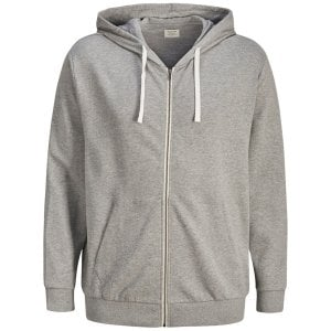 Jack & Jones Plus Size Essentials Holmen Zip Hoodie Light Grey Melange