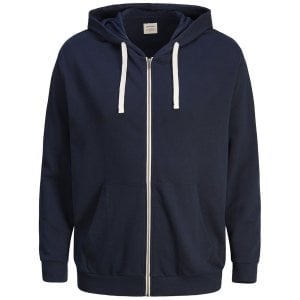 Jack & Jones Plus Size Essentials Holmen Zip Hoodie Navy Blazer