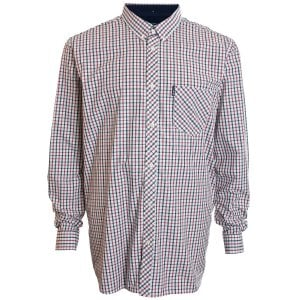 Ben Sherman Kingsize 48563 Gingham Check L/S Shirt Blue Depths