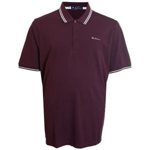 Ben Sherman Kingsize 48520 Twin Tipped Polo Wine
