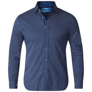 D555 Kingsize Lavar Diamond Pattern L/S Shirt Blue