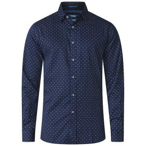 D555 Kingsize Rashard Cross Print L/S Shirt Navy