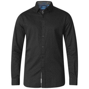 D555 Kingsize Jahine Dotted Square Pattern L/S Shirt Black