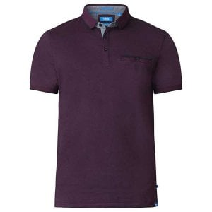 D555 Kingsize Johan Stripe Polo Burgundy