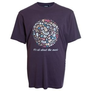 Espionage Kingsize T261 All About The Music T-Shirt Purple