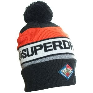 Superdry Trophy Bobble Beanie Black/Orange