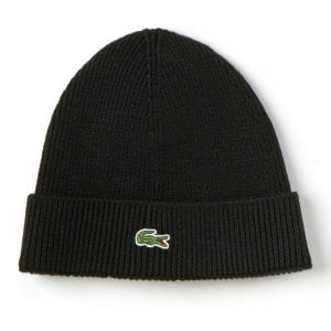 Lacoste RB3502 Ribbed Wool Beanie Black