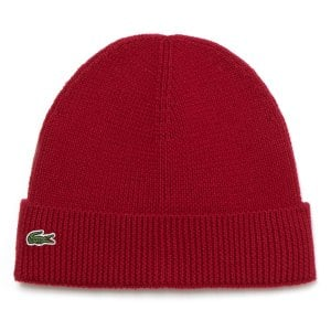 Lacoste RB3502 Ribbed Wool Beanie Bordeaux