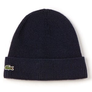Lacoste RB3502 Ribbed Wool Beanie Navy