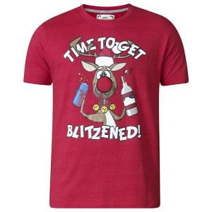 D555 Kingsize KS16187 Blitzened Christmas T-Shirt Red