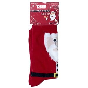 D555 Kingsize KS2311 Santa Christmas Socks Red