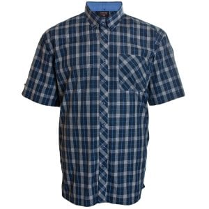Espionage Kingsize SH263 Check S/S Shirt Navy/Blue/White