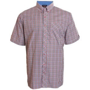 Espionage Kingsize SH263 Check S/S Shirt Navy/Red/Tan